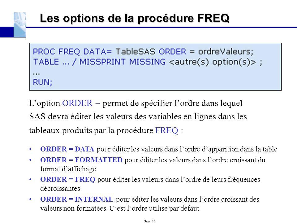 Les options de la procédure FREQ