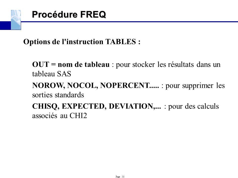 Procédure FREQ Options de l instruction TABLES :