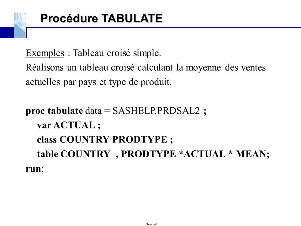 Procédure TABULATE Exemples : Tableau croisé simple.