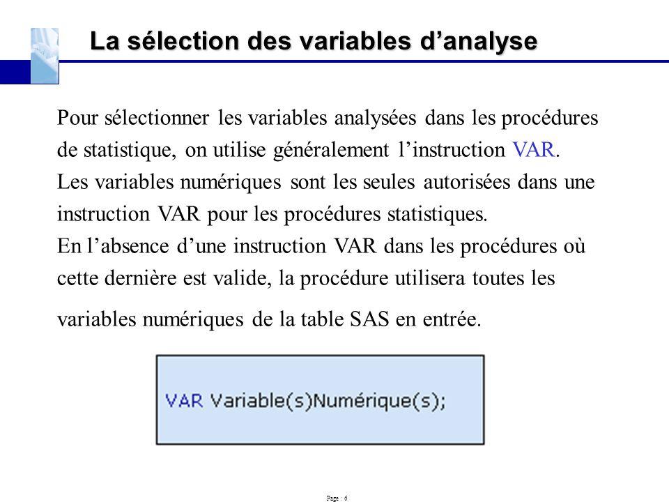 La sélection des variables d'analyse