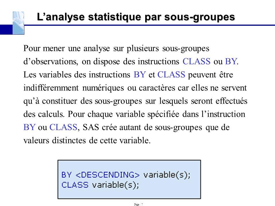 L'analyse statistique par sous-groupes