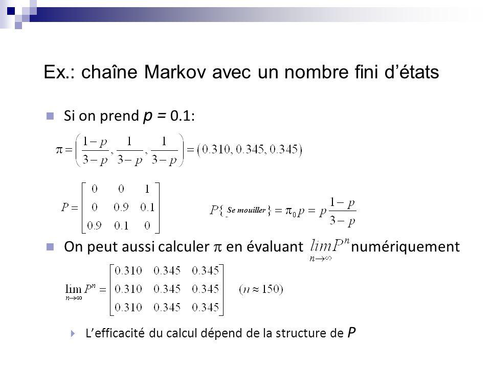 Ex.: chaîne Markov avec un nombre fini d'états