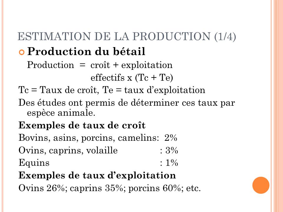 ESTIMATION DE LA PRODUCTION (1/4)