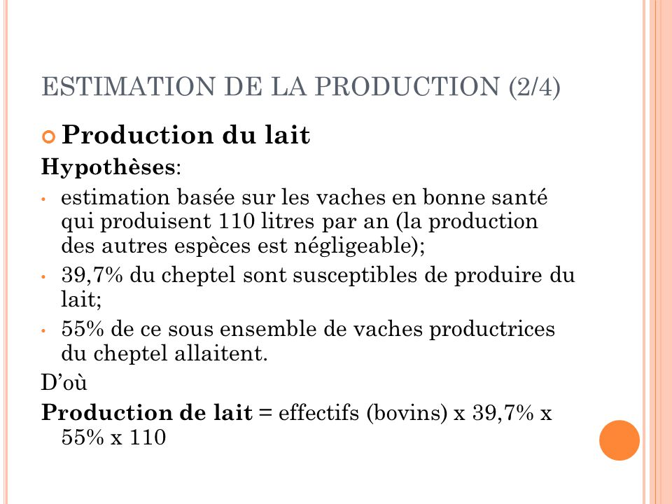 ESTIMATION DE LA PRODUCTION (2/4)