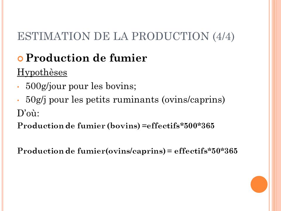 ESTIMATION DE LA PRODUCTION (4/4)