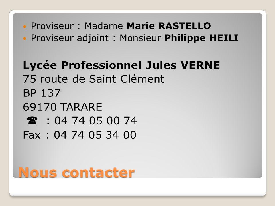 Nous contacter Lycée Professionnel Jules VERNE