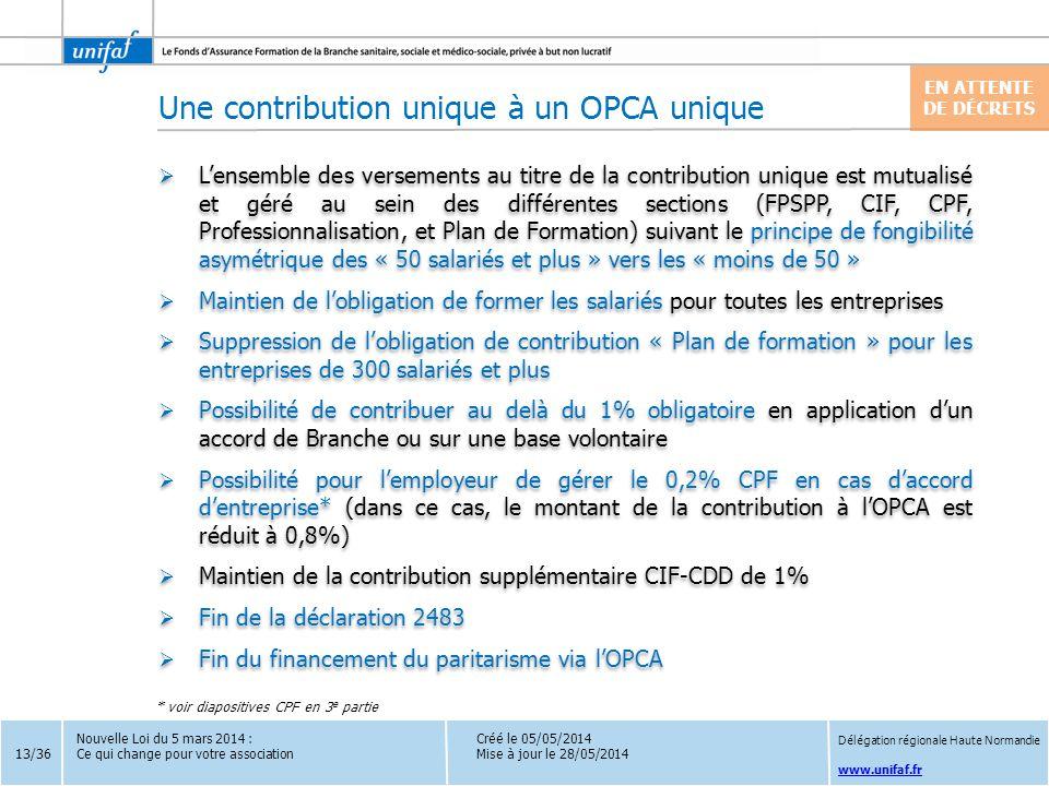 Une contribution unique à un OPCA unique