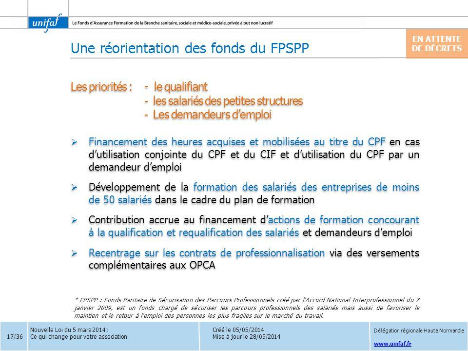 Une réorientation des fonds du FPSPP