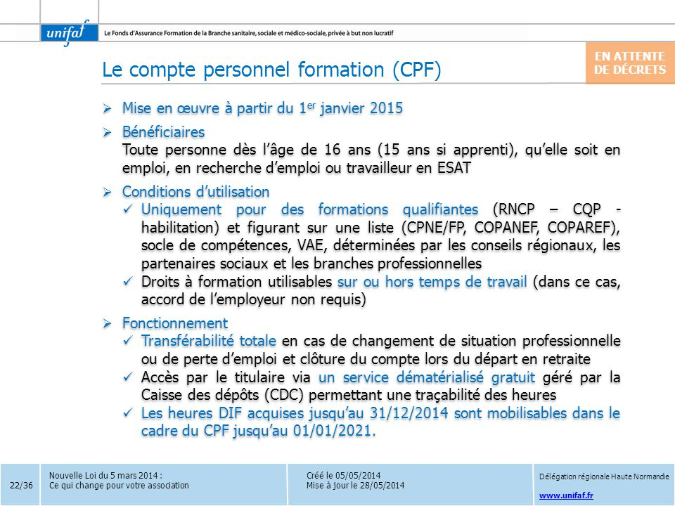 Le compte personnel formation (CPF)
