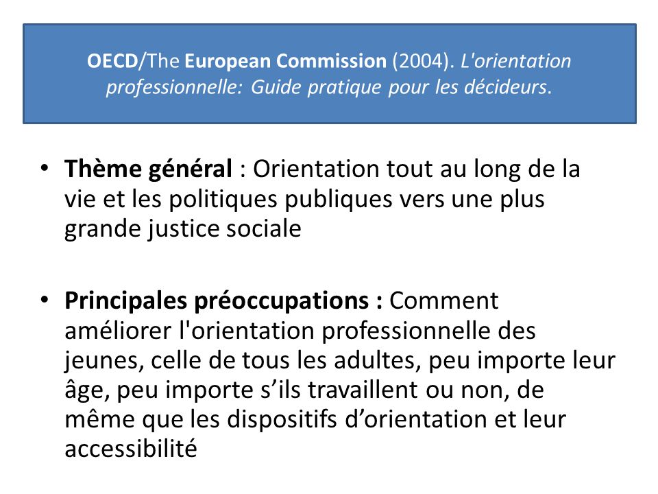 OECD/The European Commission (2004)
