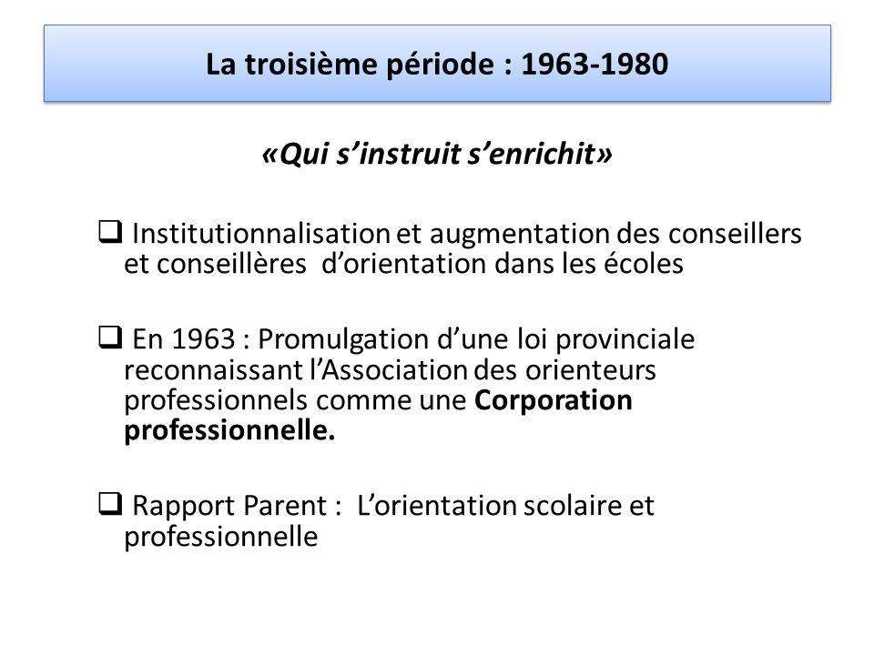 La troisième période : 1963-1980