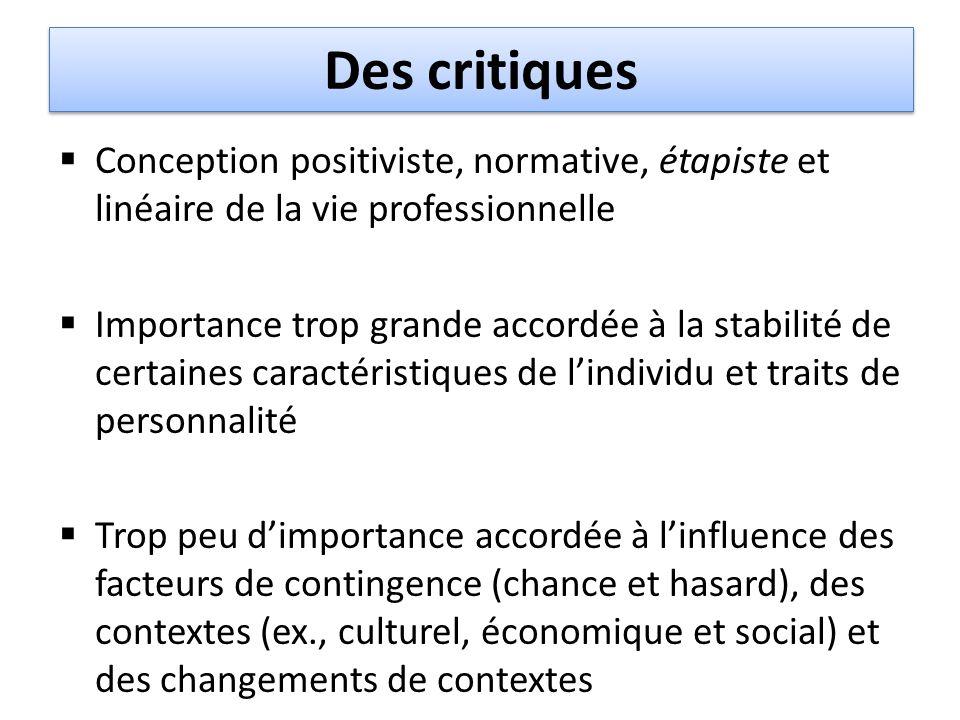Des critiques Conception positiviste, normative, étapiste et linéaire de la vie professionnelle.