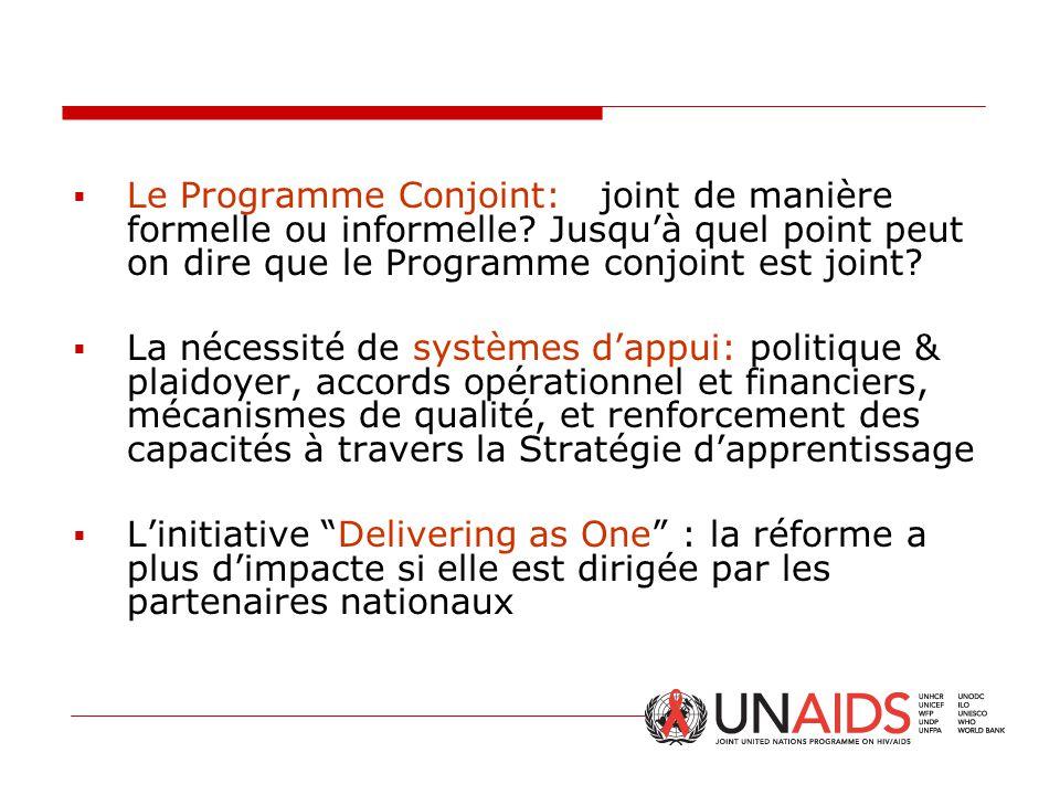 Le Programme Conjoint: joint de manière formelle ou informelle