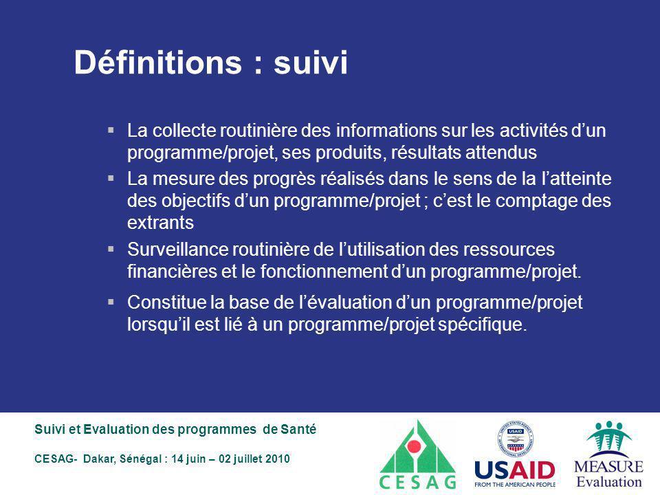 Définitions : suivi La collecte routinière des informations sur les activités d'un programme/projet, ses produits, résultats attendus.