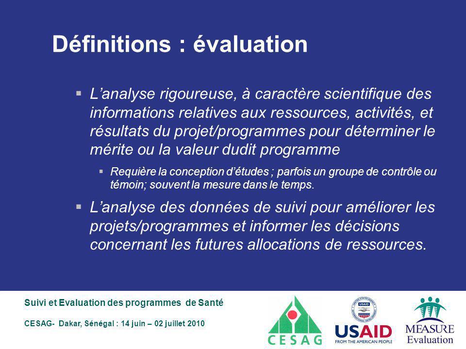 Définitions : évaluation