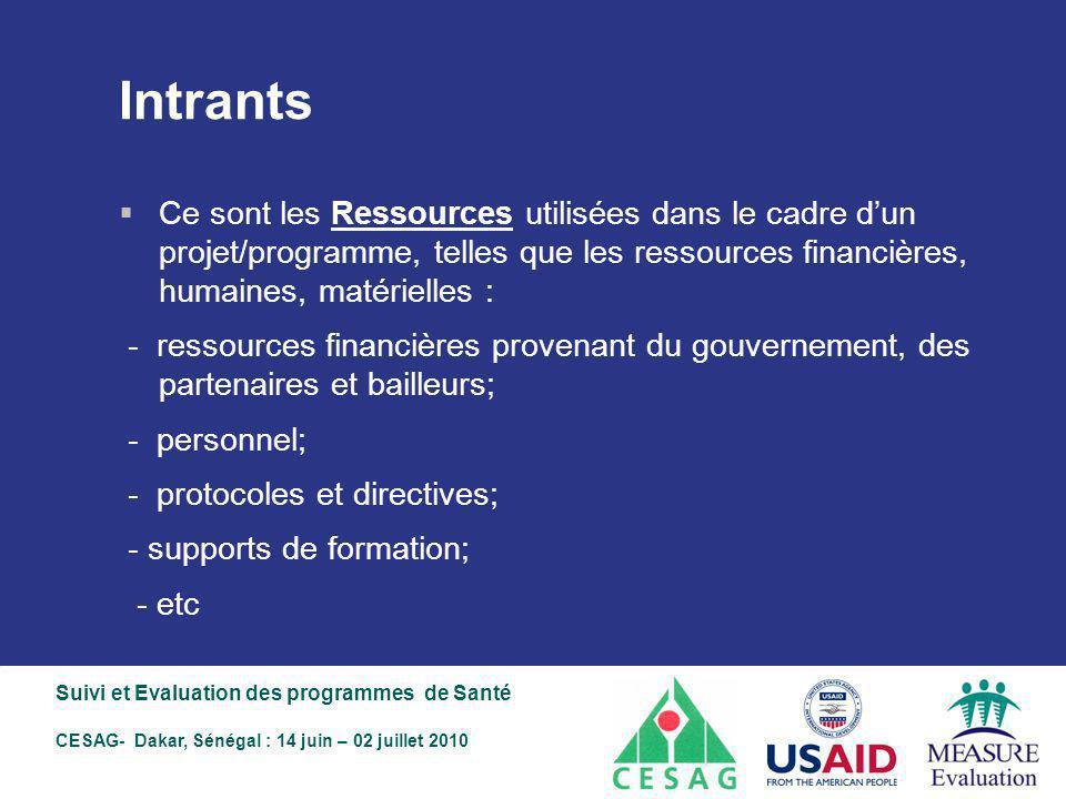 Intrants Ce sont les Ressources utilisées dans le cadre d'un projet/programme, telles que les ressources financières, humaines, matérielles :