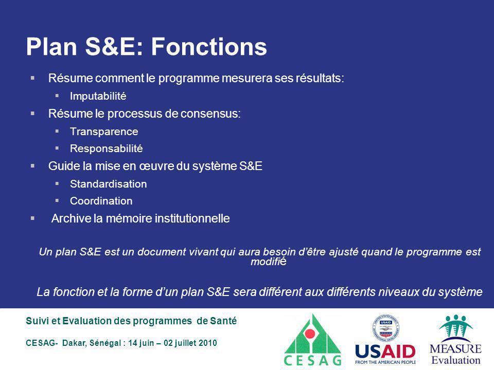 Plan S&E: Fonctions Résume comment le programme mesurera ses résultats: Imputabilité. Résume le processus de consensus: