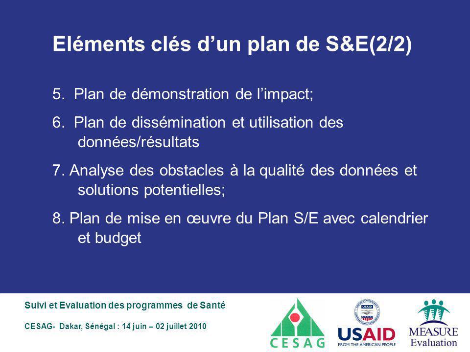 Eléments clés d'un plan de S&E(2/2)
