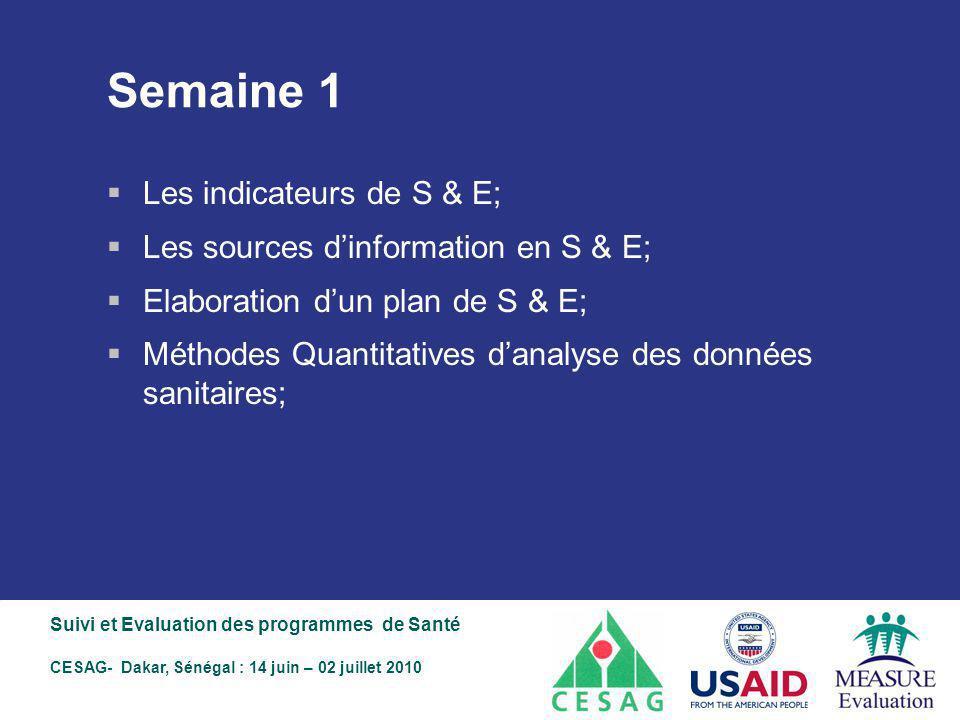 Semaine 1 Les indicateurs de S & E;