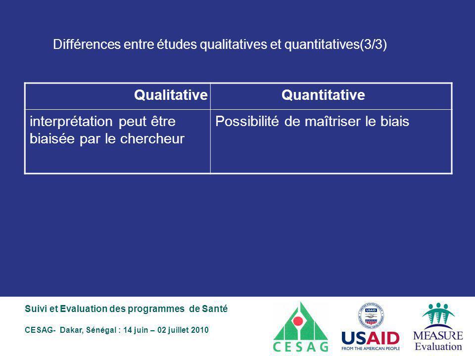 Différences entre études qualitatives et quantitatives(3/3)