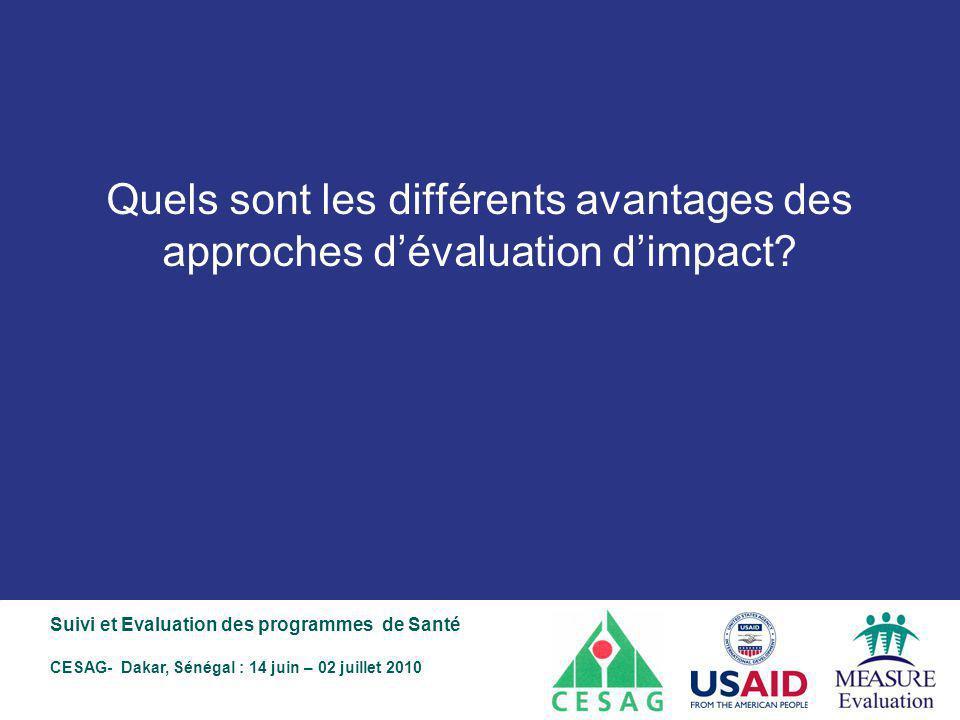 Quels sont les différents avantages des approches d'évaluation d'impact