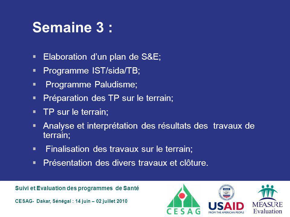 Semaine 3 : Elaboration d'un plan de S&E; Programme IST/sida/TB;