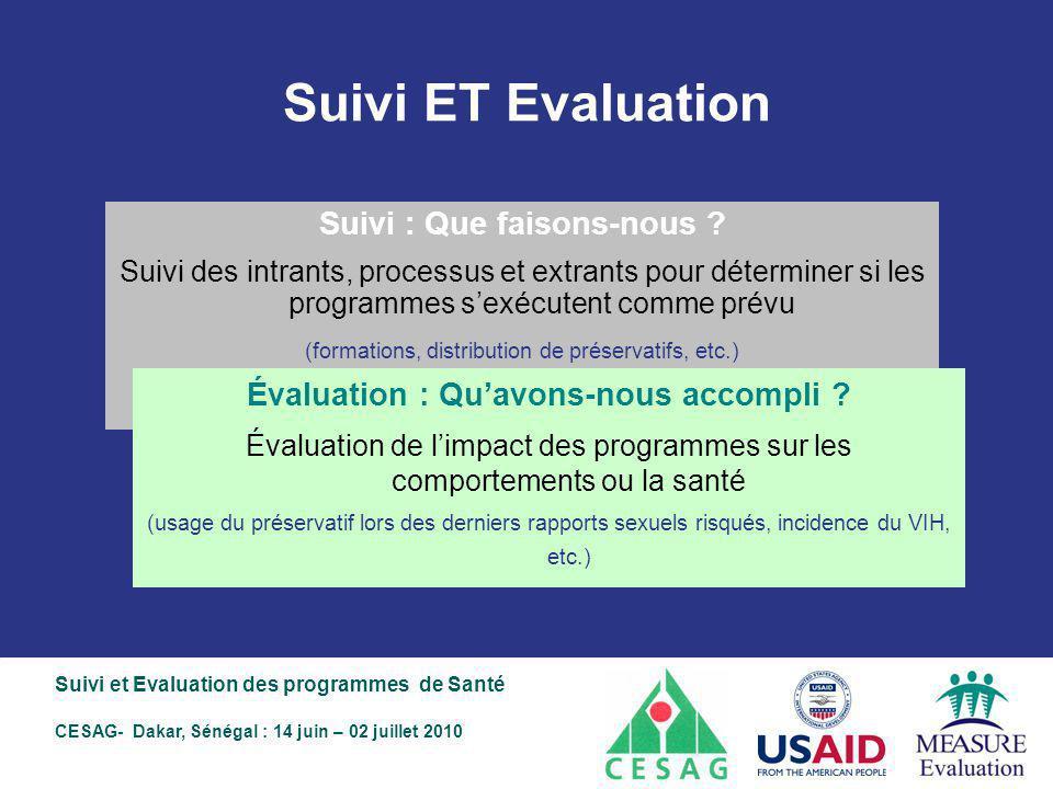 Suivi ET Evaluation Suivi : Que faisons-nous