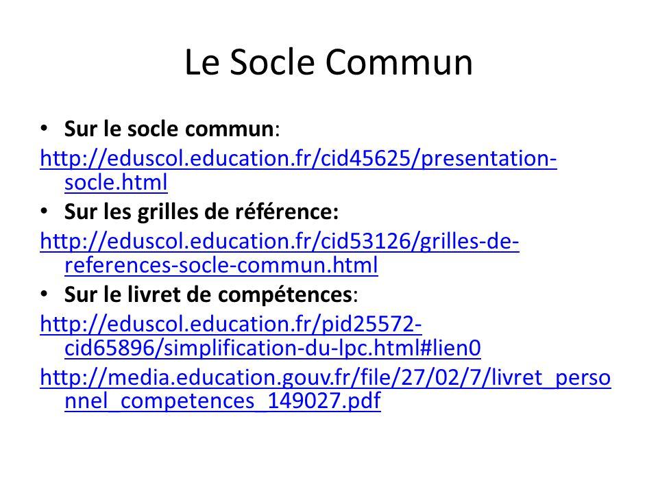 Le Socle Commun Sur le socle commun: