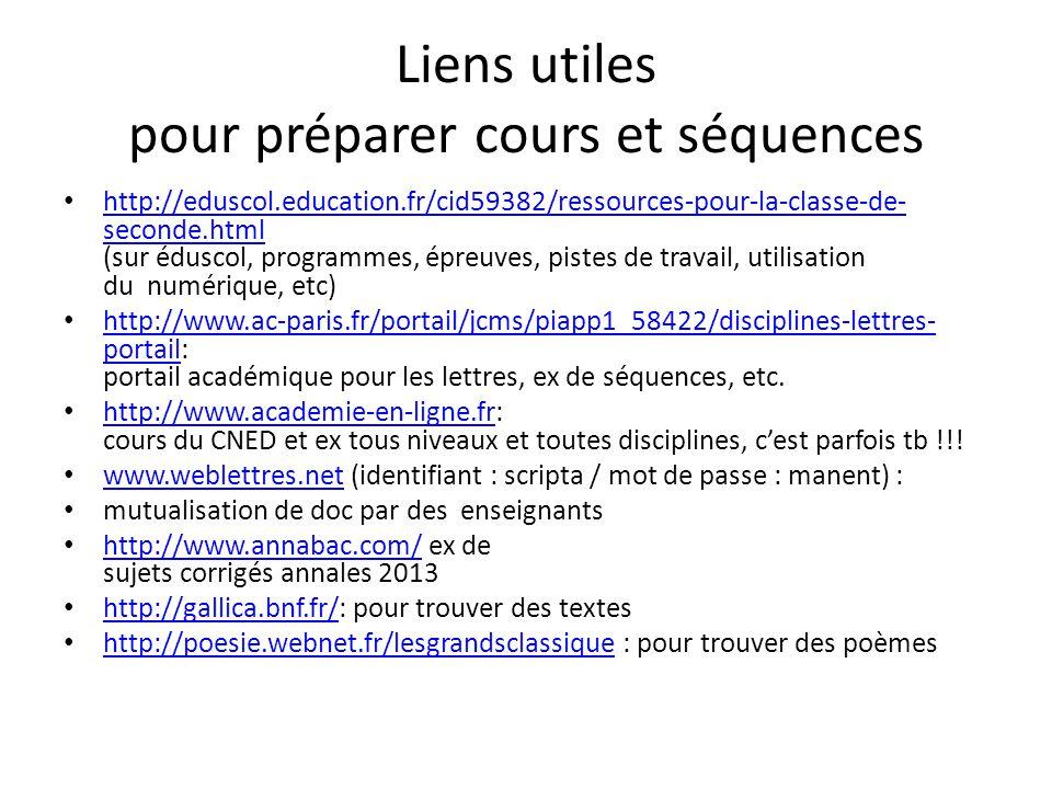 Liens utiles pour préparer cours et séquences