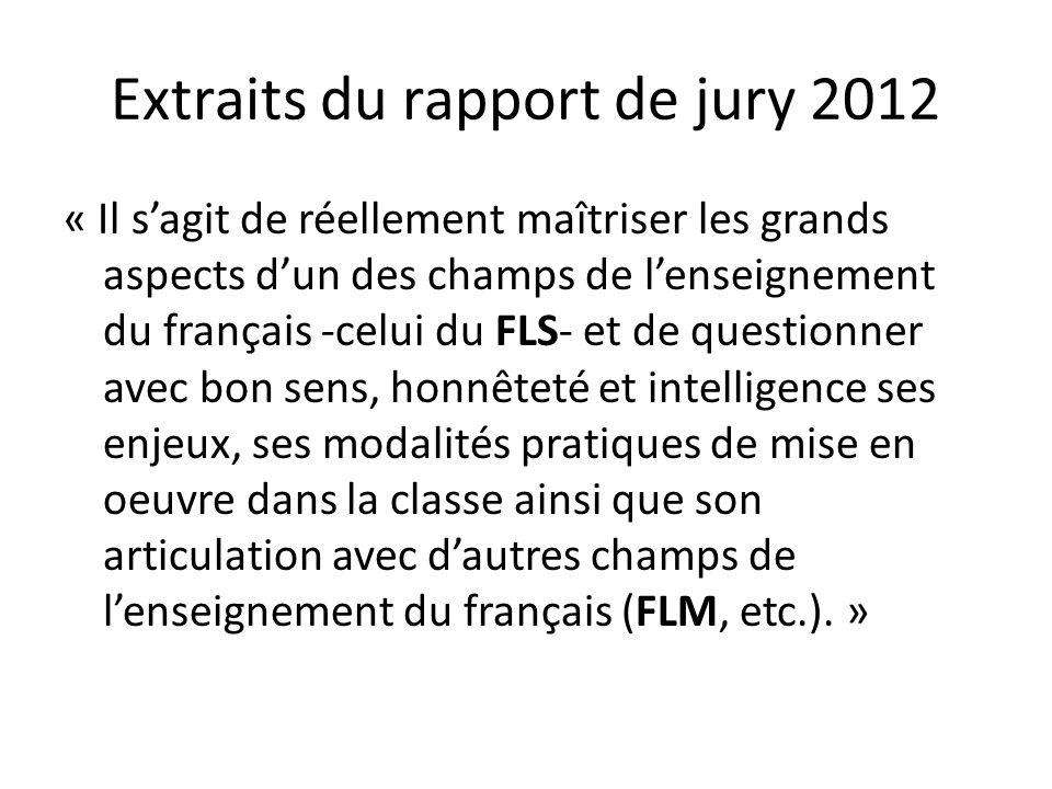 Extraits du rapport de jury 2012