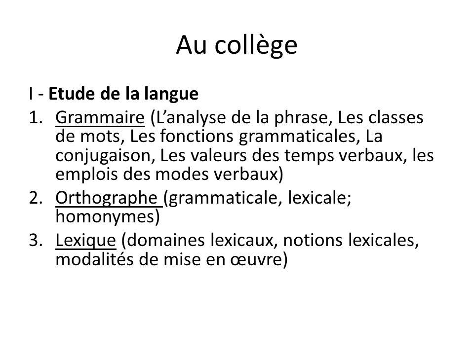 Au collège I - Etude de la langue