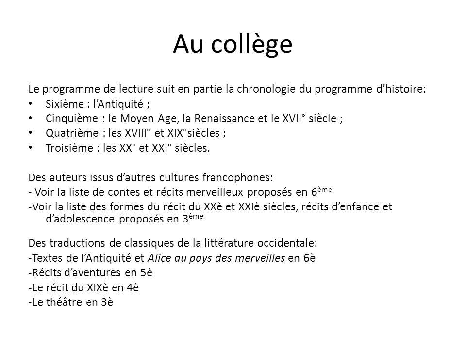 Au collège Le programme de lecture suit en partie la chronologie du programme d'histoire: Sixième : l'Antiquité ;