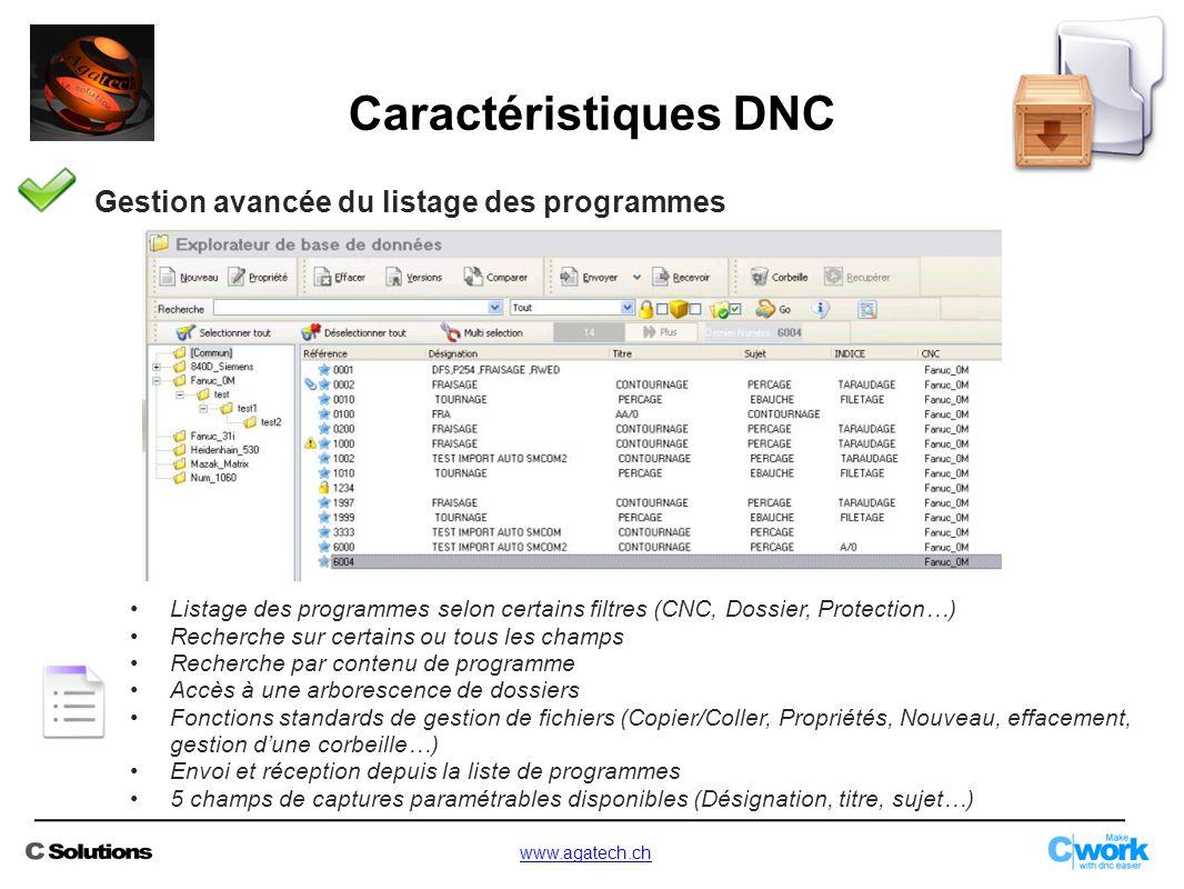Caractéristiques DNC Gestion avancée du listage des programmes