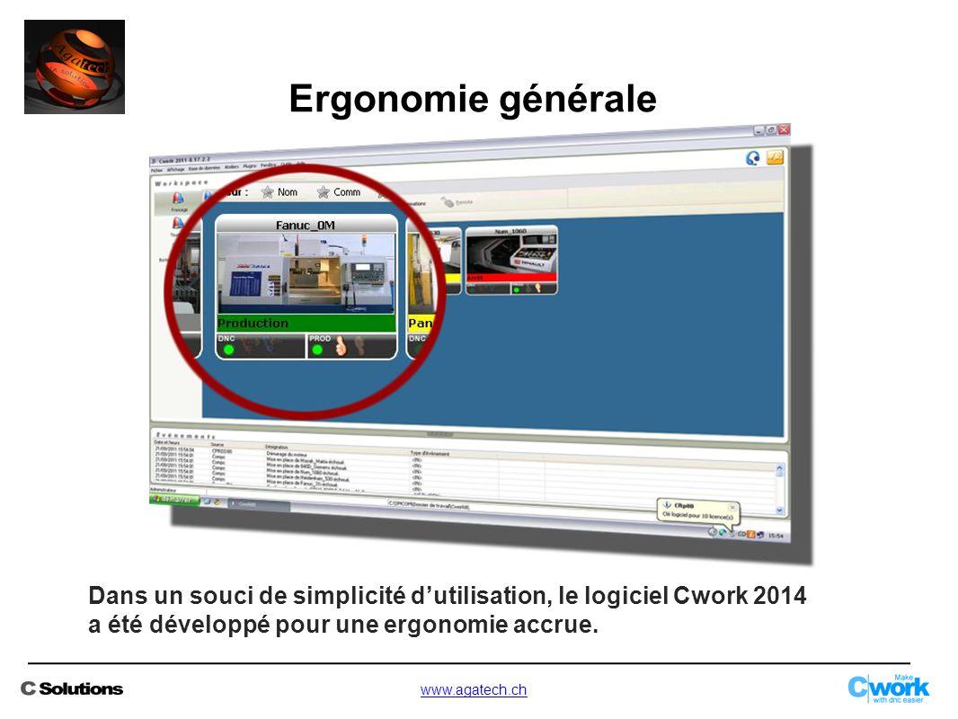 Ergonomie générale Dans un souci de simplicité d'utilisation, le logiciel Cwork 2014. a été développé pour une ergonomie accrue.