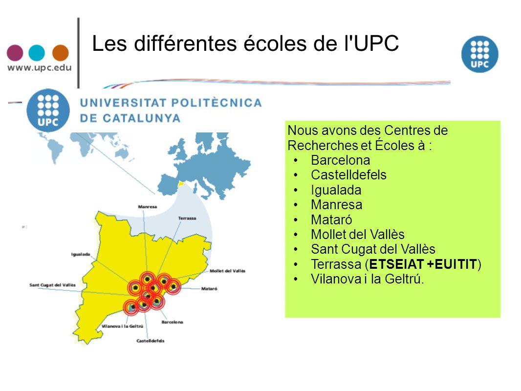 Les différentes écoles de l UPC
