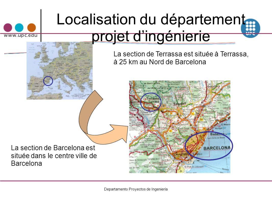 Localisation du département projet d'ingénierie