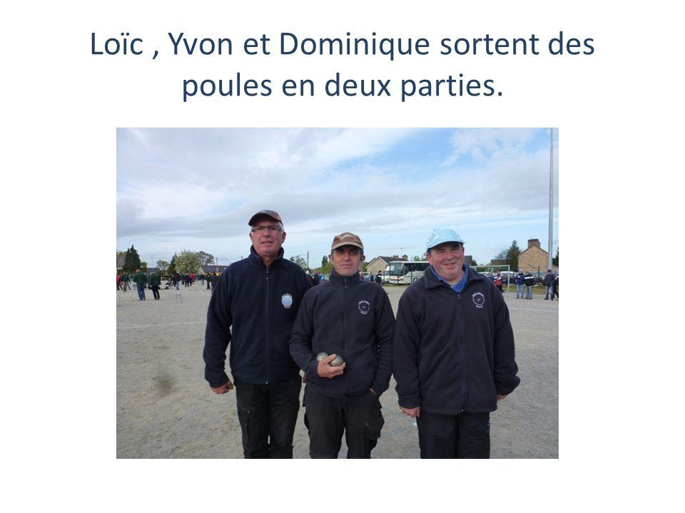 Loïc , Yvon et Dominique sortent des poules en deux parties.