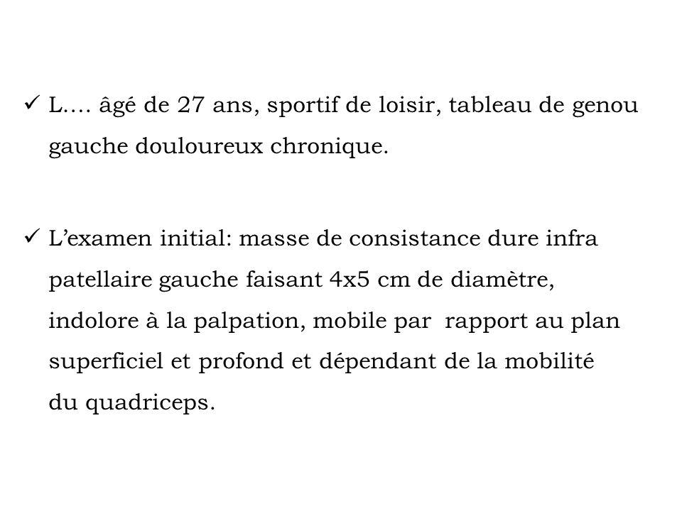 L…. âgé de 27 ans, sportif de loisir, tableau de genou gauche douloureux chronique.