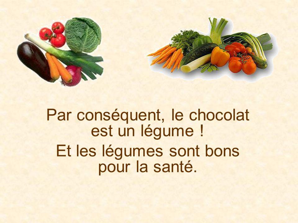 Par conséquent, le chocolat est un légume !