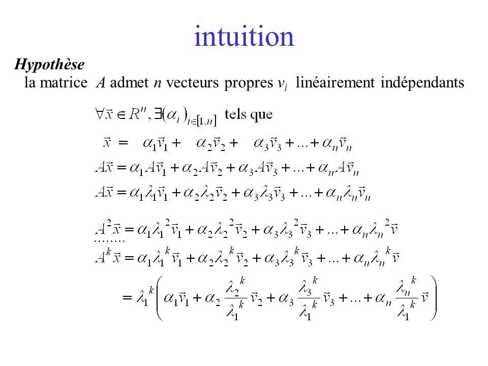 intuition Hypothèse la matrice A admet n vecteurs propres vi linéairement indépendants