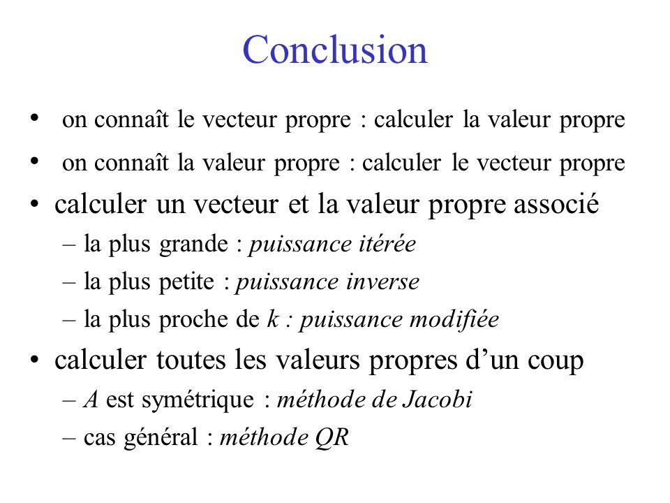 Conclusion on connaît le vecteur propre : calculer la valeur propre