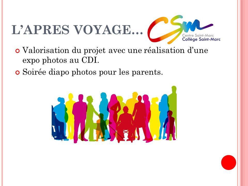 L'APRES VOYAGE… Valorisation du projet avec une réalisation d'une expo photos au CDI.