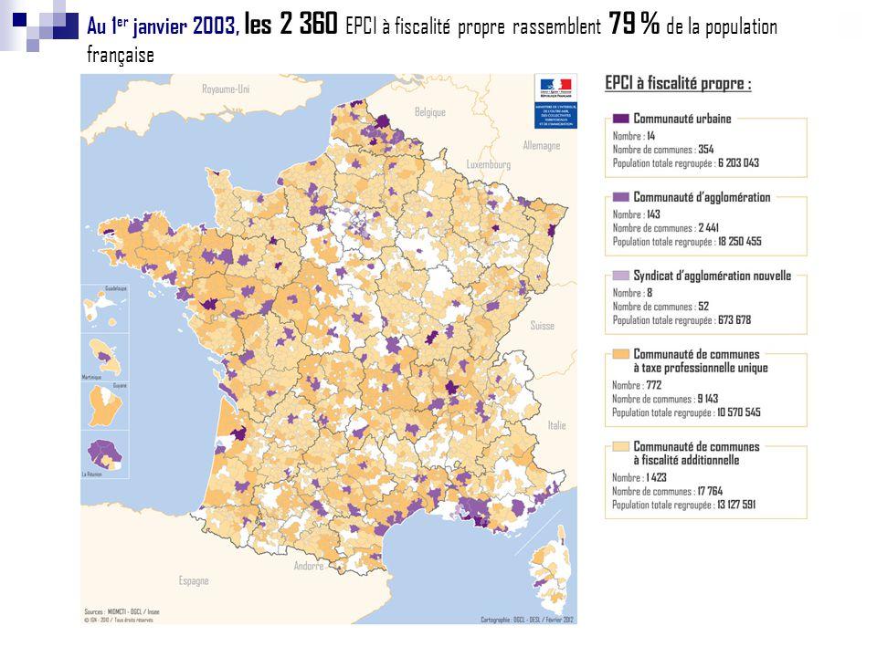 Au 1er janvier 2003, les 2 360 EPCI à fiscalité propre rassemblent 79 % de la population française