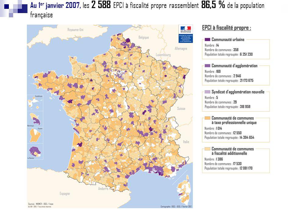 Au 1er janvier 2007, les 2 588 EPCI à fiscalité propre rassemblent 86,5 % de la population française