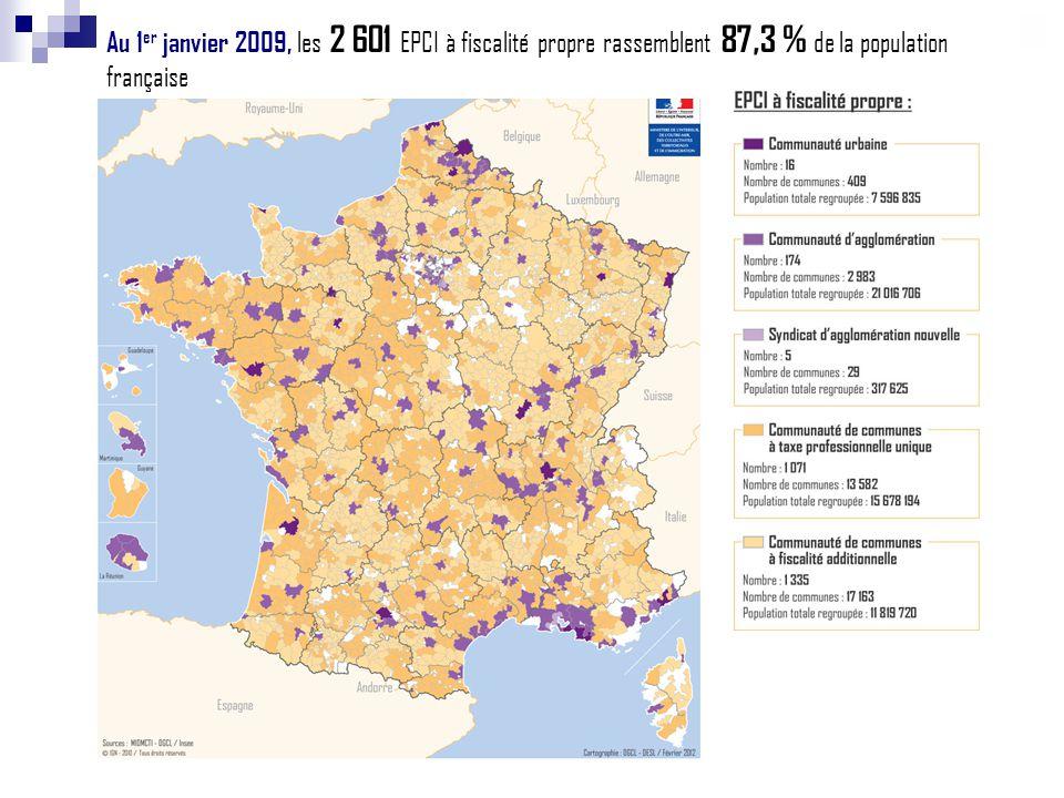 Au 1er janvier 2009, les 2 601 EPCI à fiscalité propre rassemblent 87,3 % de la population française