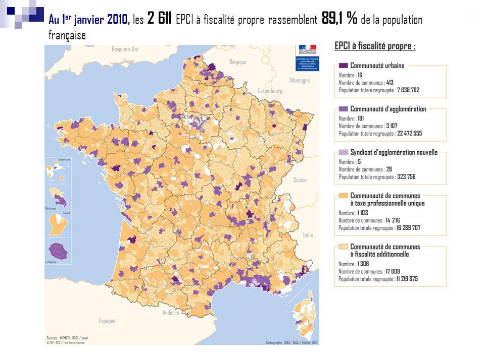 Au 1er janvier 2010, les 2 611 EPCI à fiscalité propre rassemblent 89,1 % de la population française