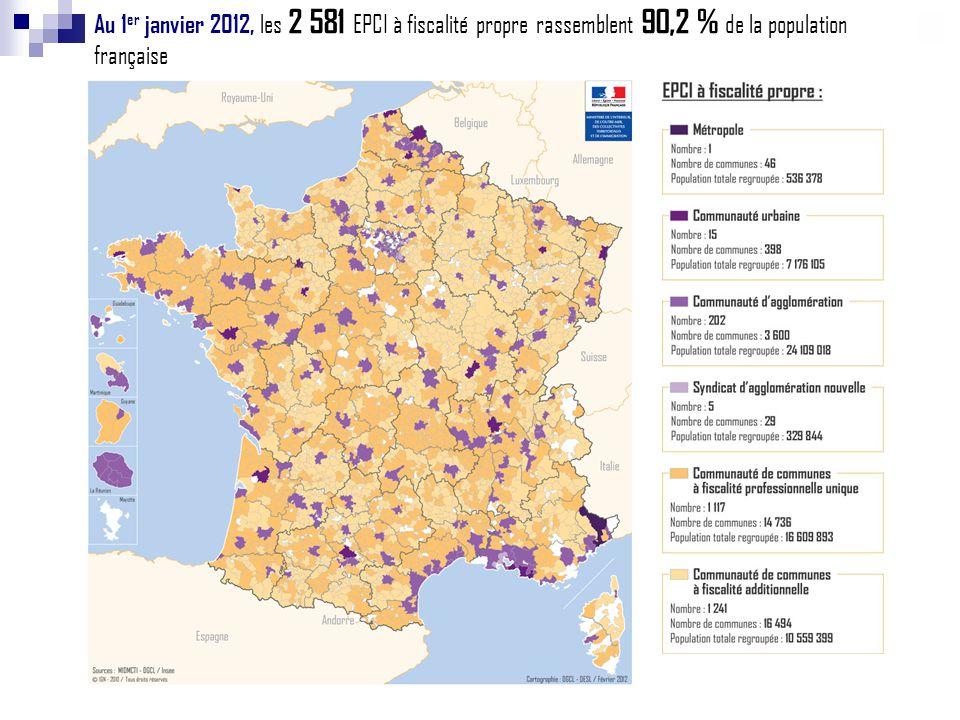 Au 1er janvier 2012, les 2 581 EPCI à fiscalité propre rassemblent 90,2 % de la population française