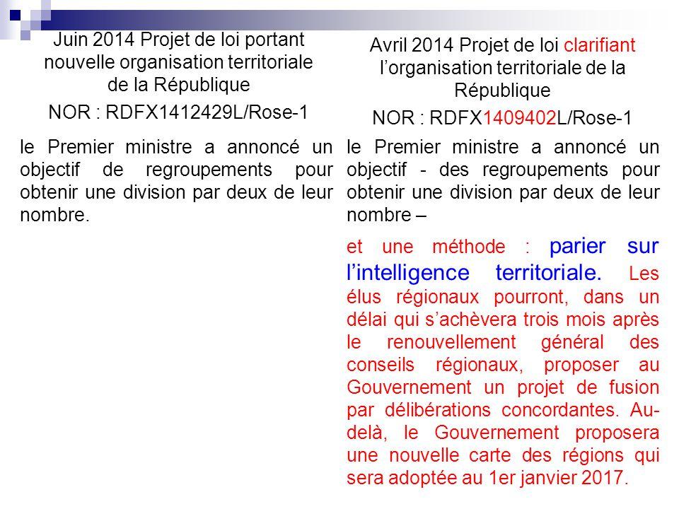 Avril 2014 Projet de loi clarifiant l'organisation territoriale de la République