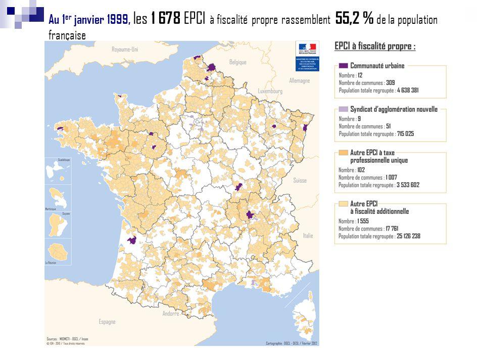 Au 1er janvier 1999, les 1 678 EPCI à fiscalité propre rassemblent 55,2 % de la population française