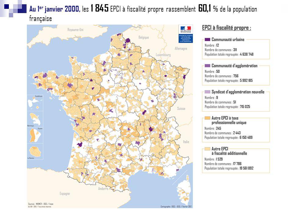 Au 1er janvier 2000, les 1 845 EPCI à fiscalité propre rassemblent 60,1 % de la population française